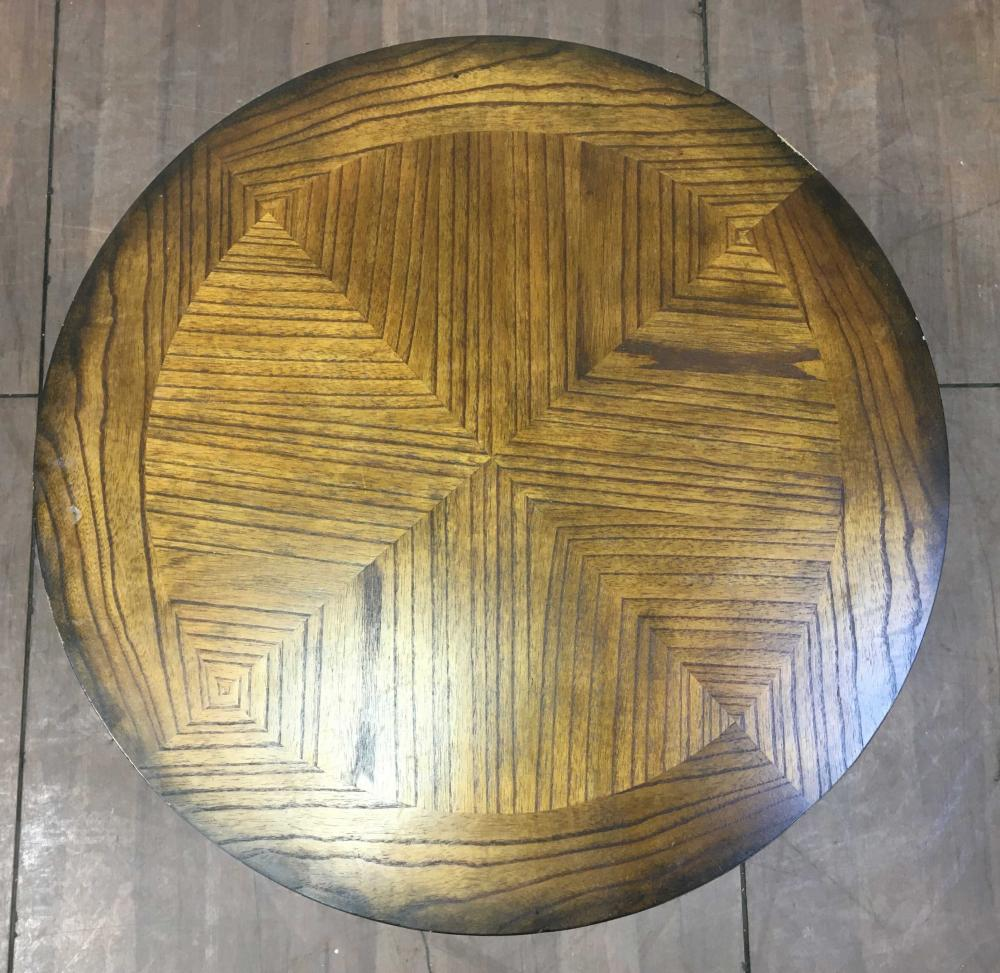 Pacific Coast Lighting Marquetry Top Oak Accent Table