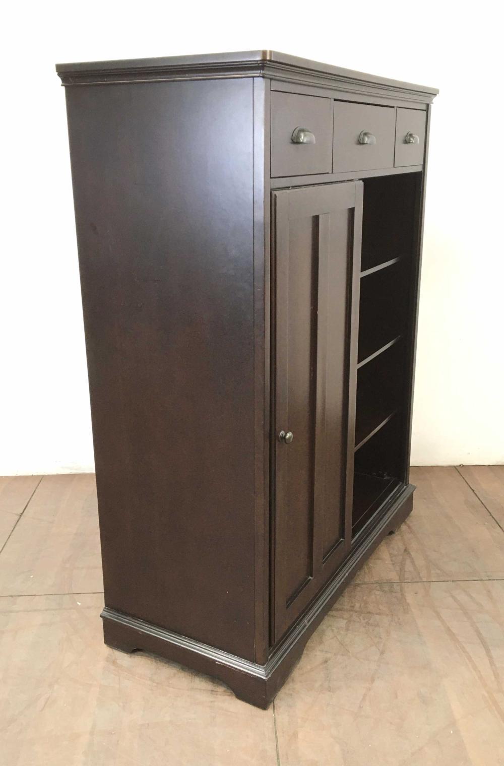 Traditional Style Ebonized Finish High Boy Cabinet