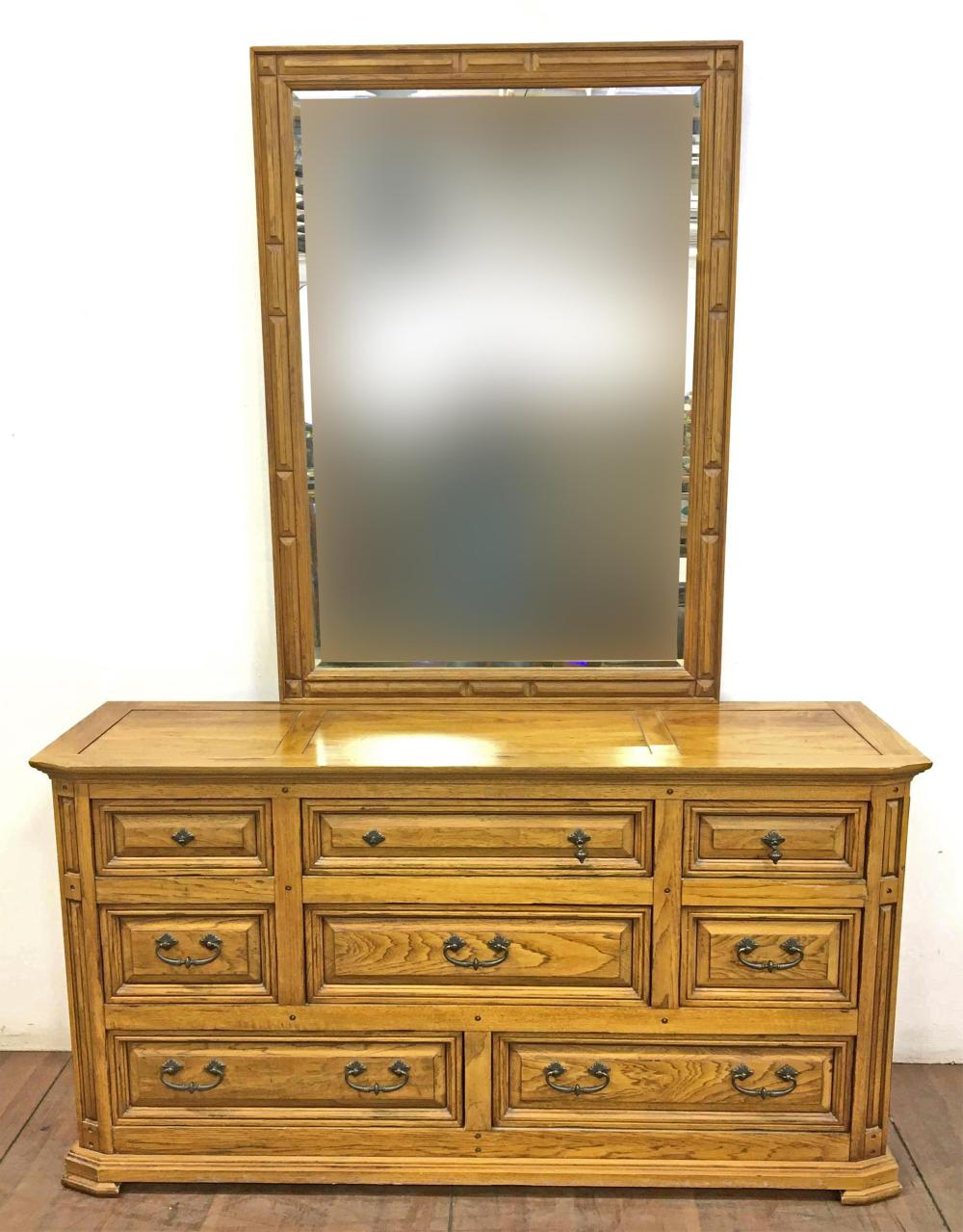 Thomasville Oak Triple Dresser & Beveled Mirror