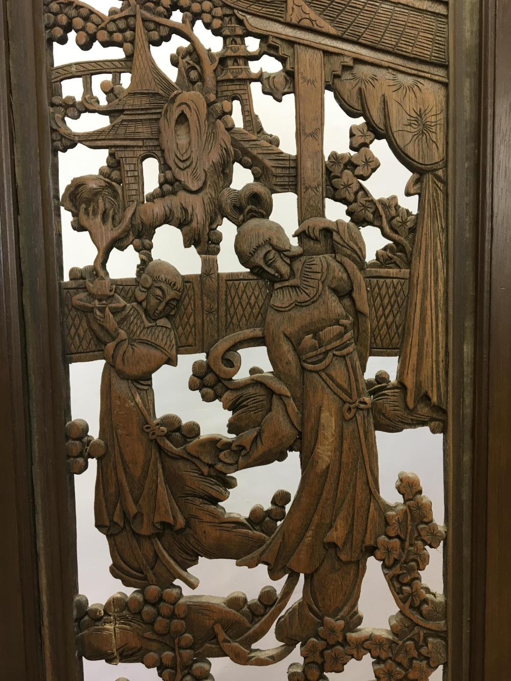 Carved Asian Figural Garden Dual Sided 4-panel Floor Screen