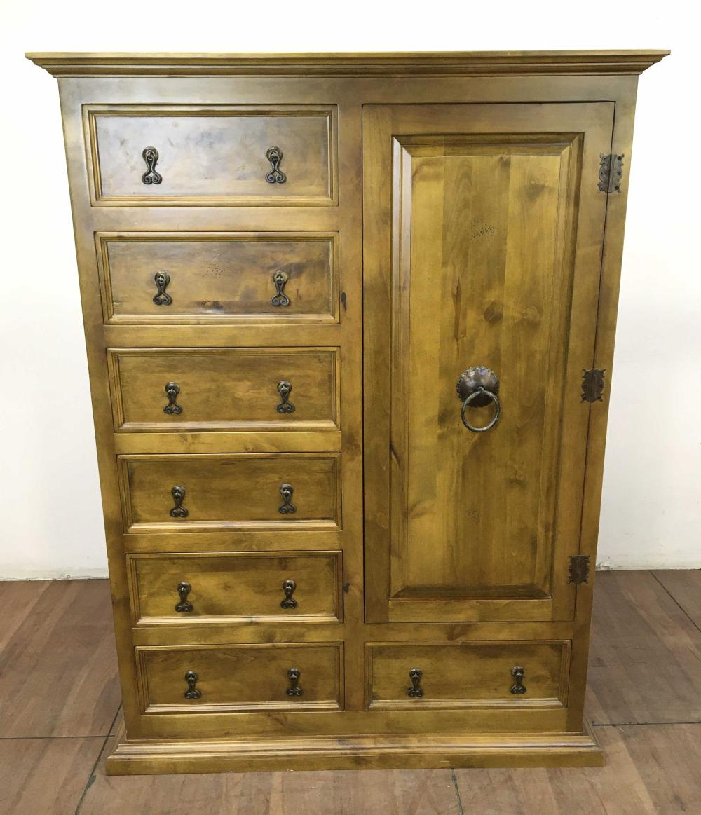 Traditional Style Pinewood Highboy Dresser Cabinet