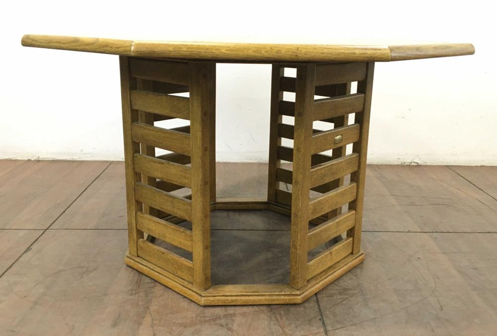 Stav Transitional Style Oak Parquet Top Octagonal Dining Table