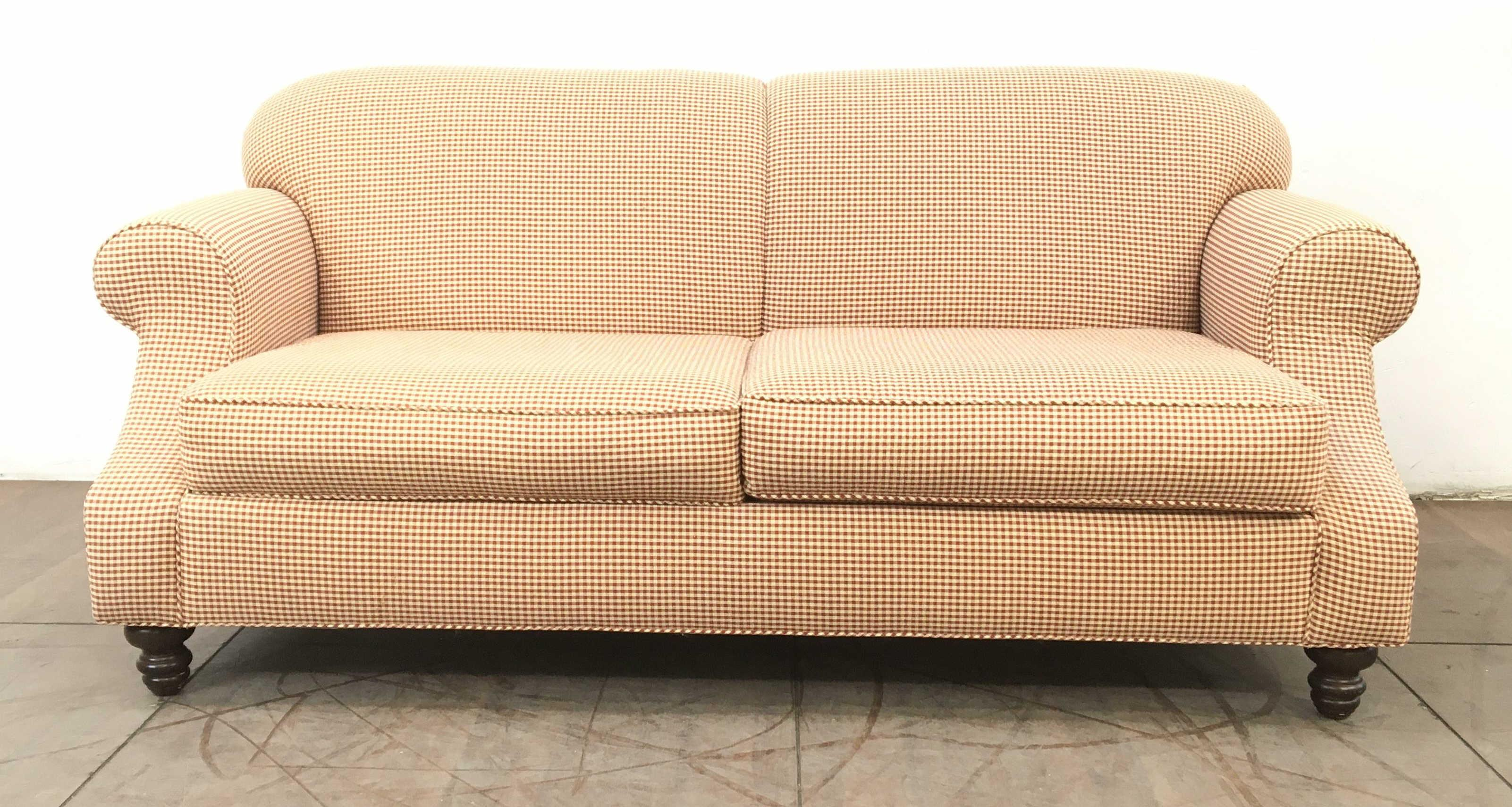 Traditional Rolled Arm Rust Checkered Sofa