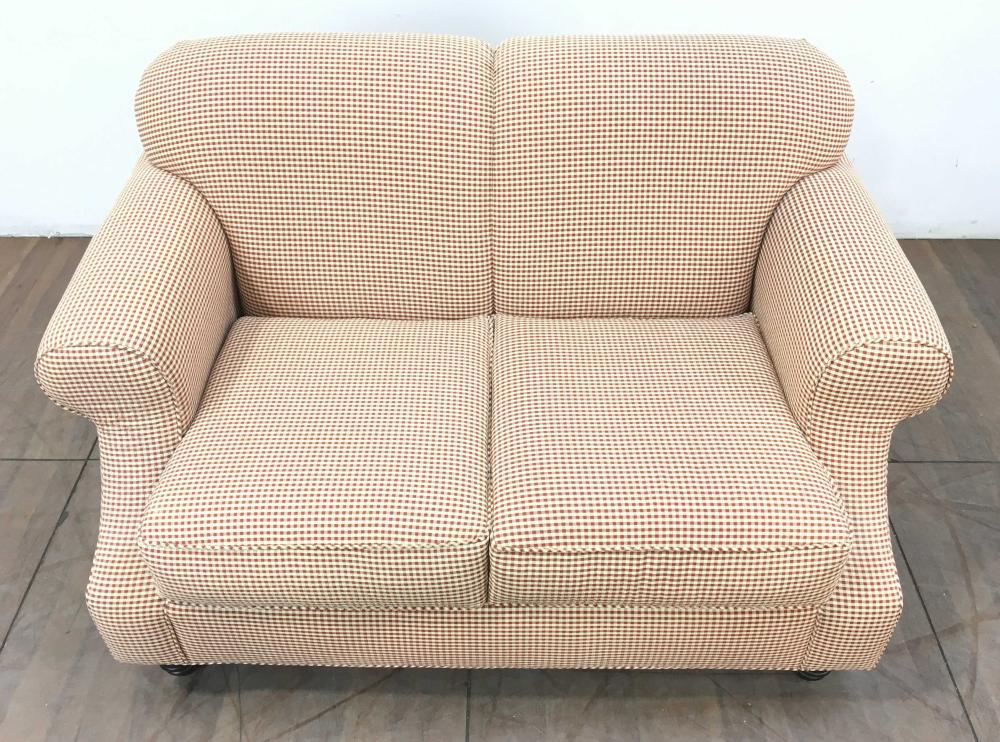 Traditional Rolled Arm Rust Checkered Loveseat