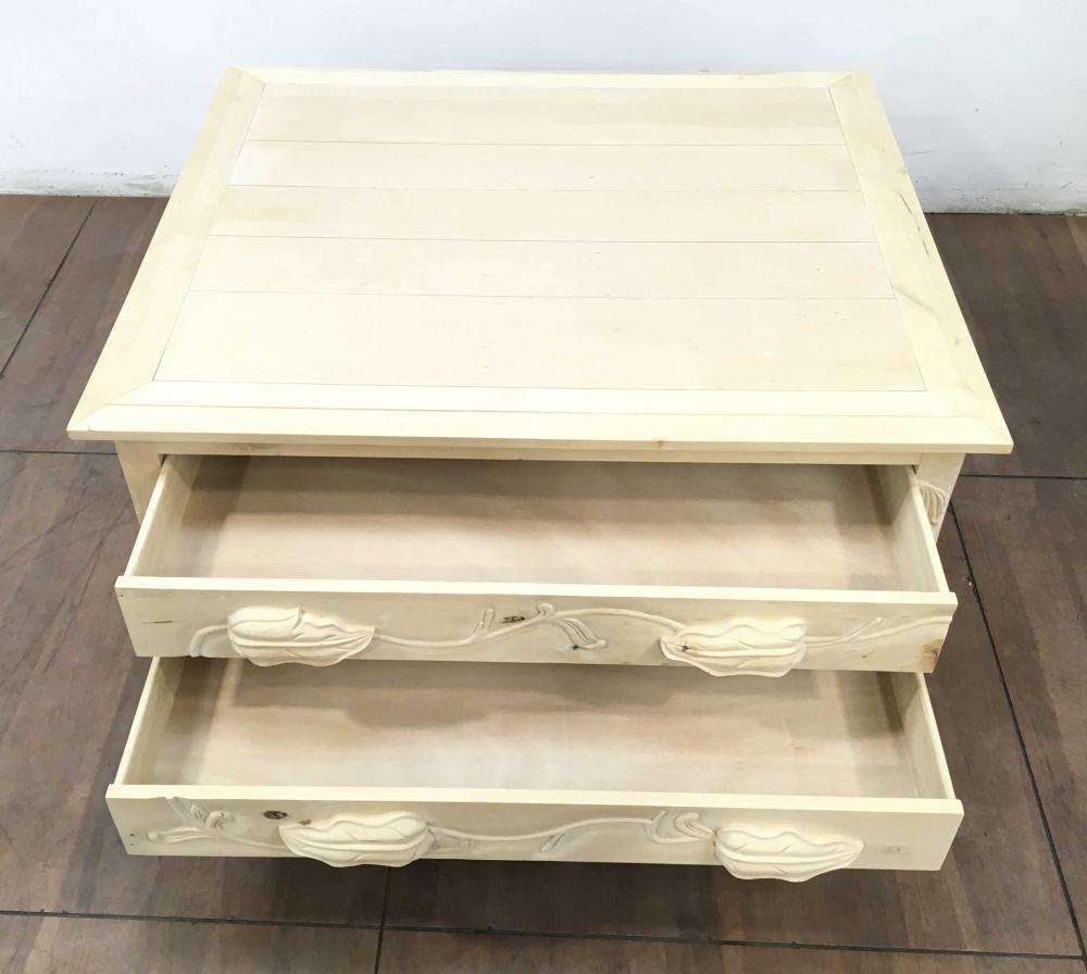 Art Nouveau Influenced Raw Pine Coffee Table
