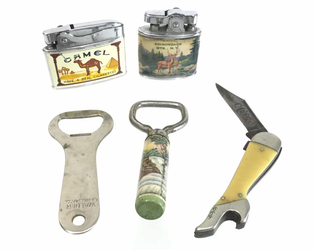 (5pc) Vintage Leg Pocket Knife, Camel Lighters