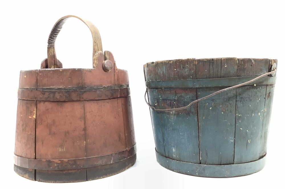 (2pc) Antique Wooden Stave Bucket, Sap Bucket