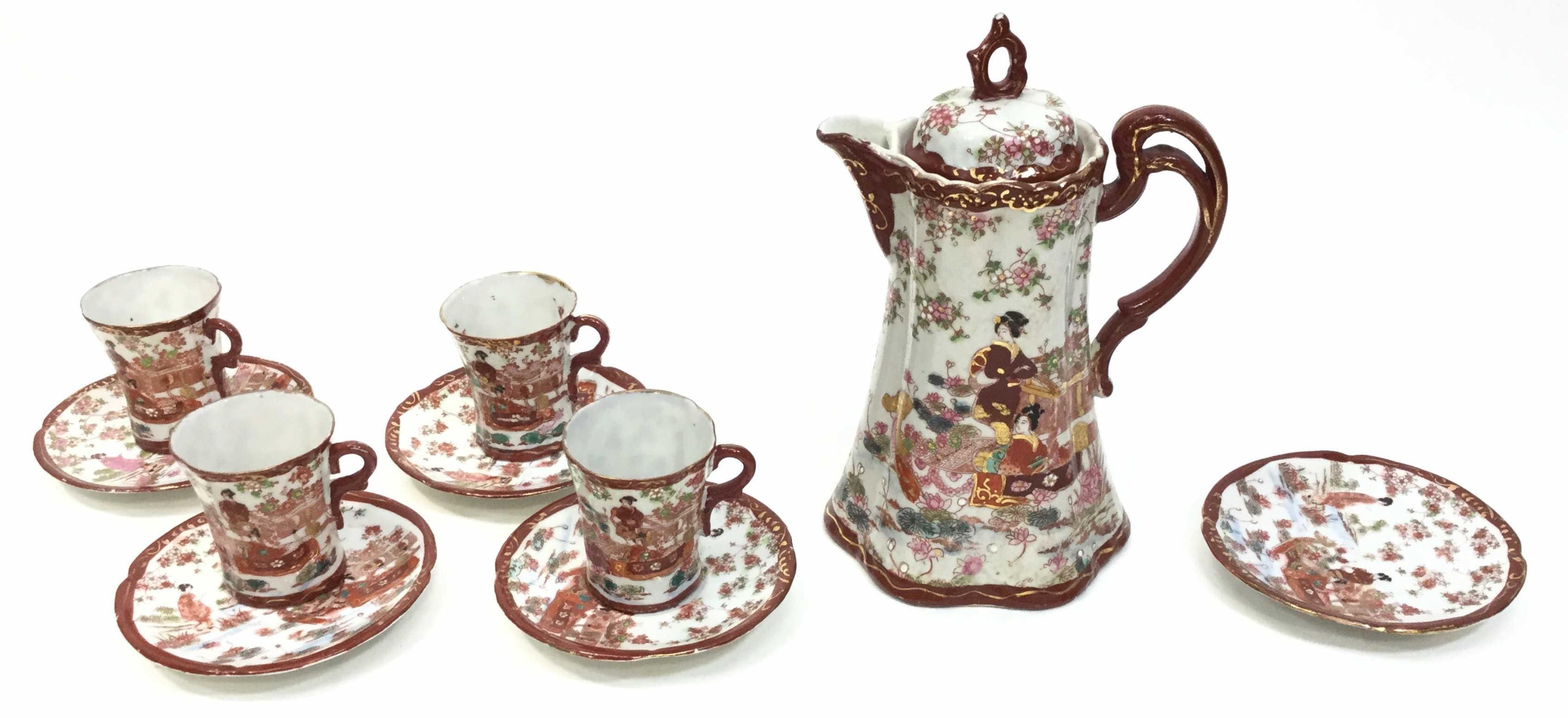 Chinese Porcelain Teacups & Pitcher
