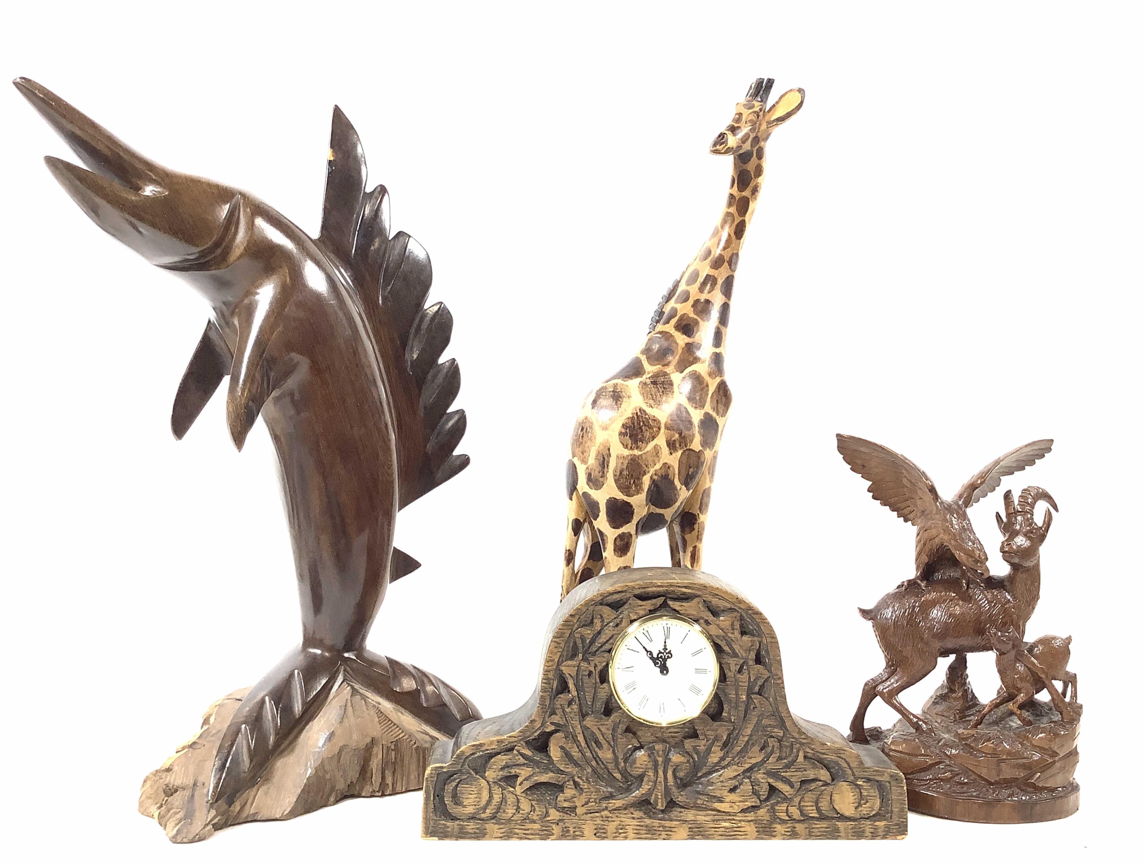 Wooden Carved Animal Sculptures, Mantle Clock