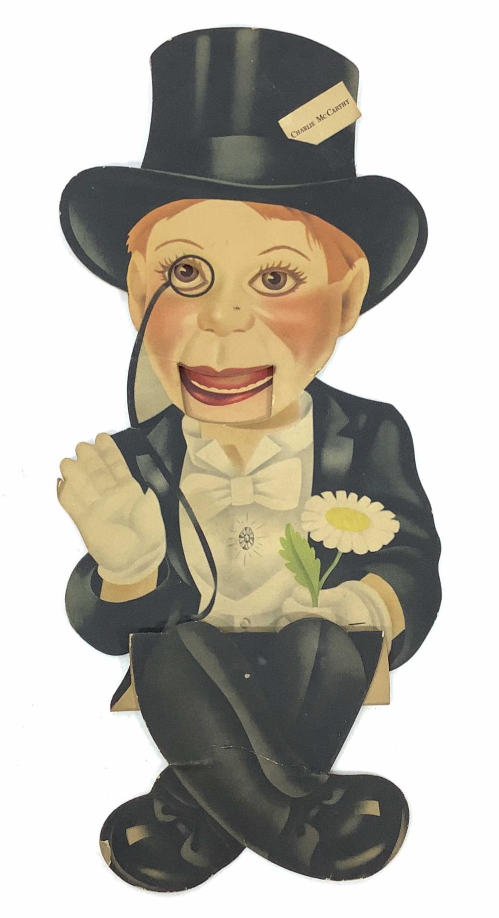 c.1920 Charlie McCarthy Die Cut Cardboard Puppet