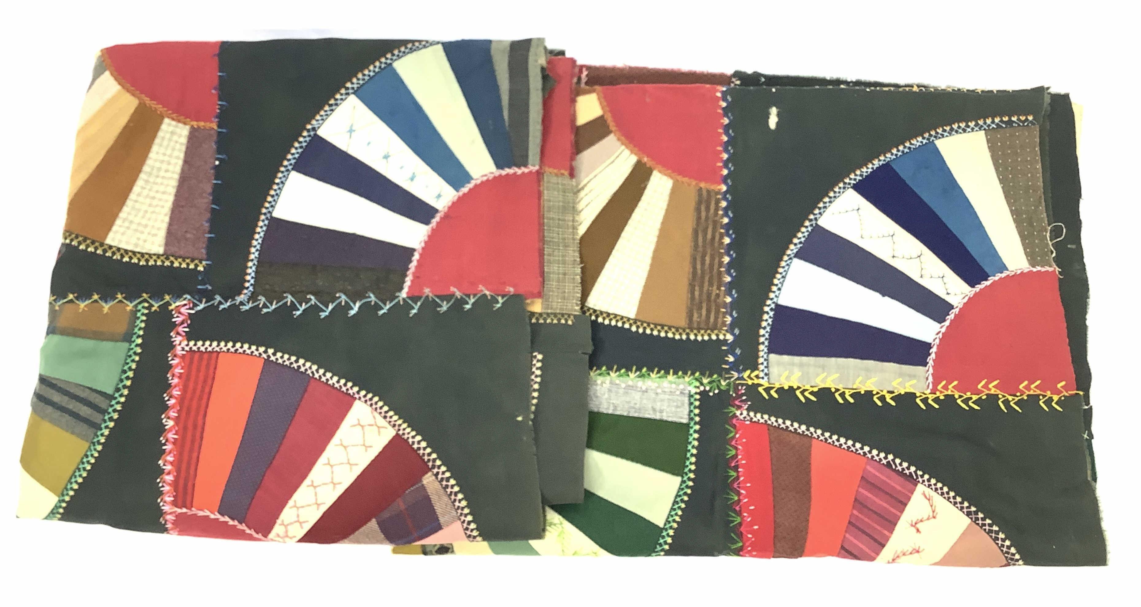 (2pc) Vintage Fan Quilt Panels