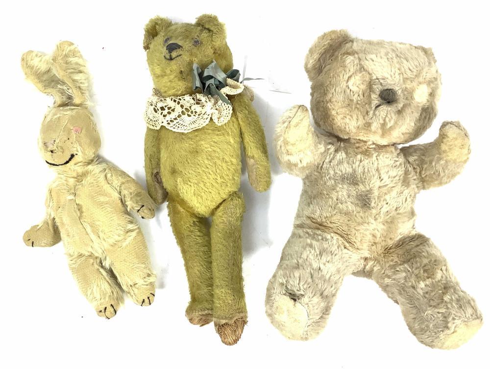 (3pc) Vintage Toy Bears & Rabbit