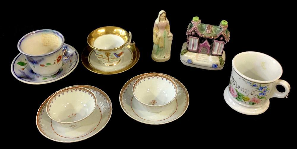 Vintage Staffordshire Figure, Cups & Saucers