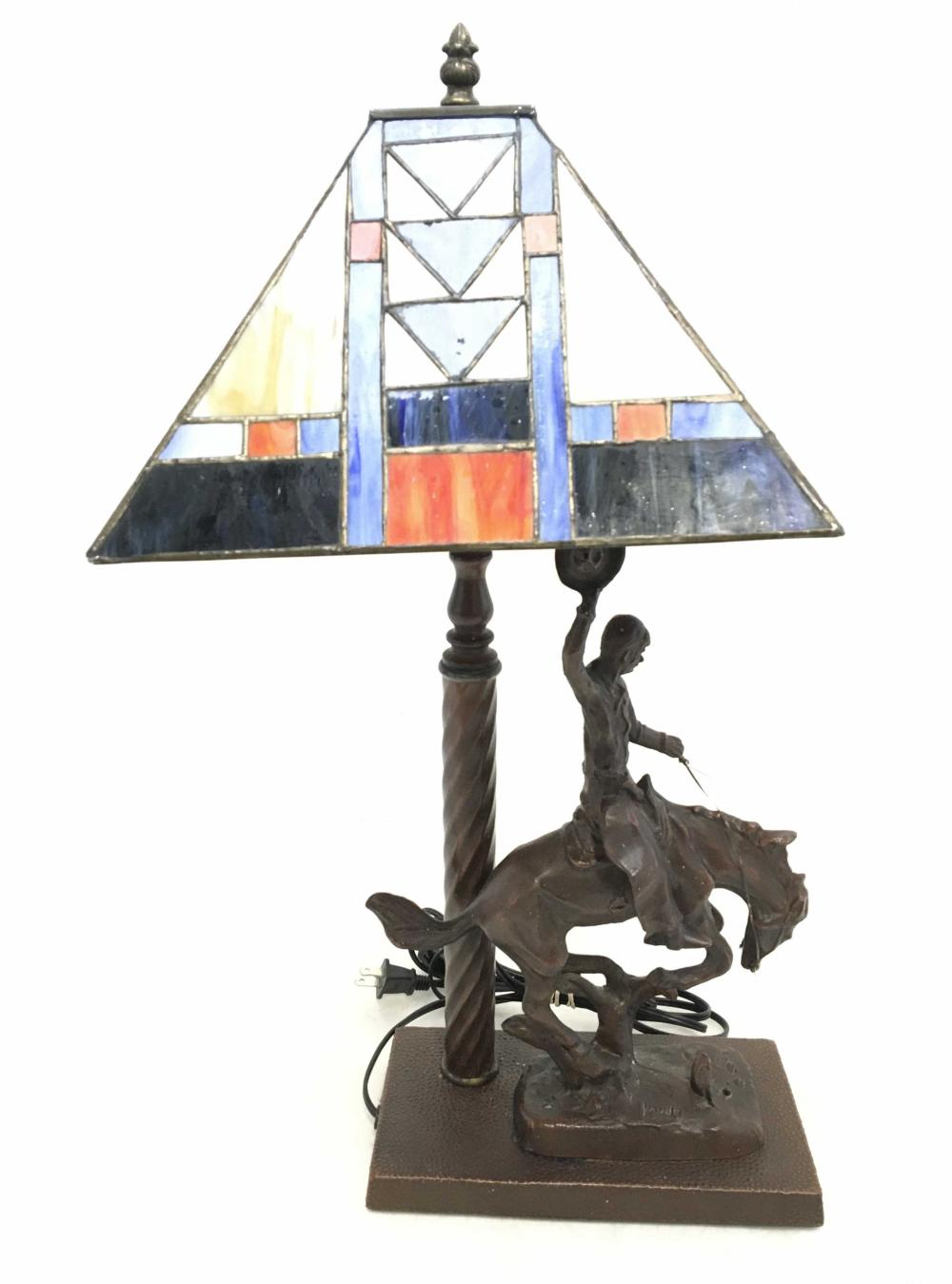 Kauda Spelter Cowboy & Stained Glass Shade Lamp