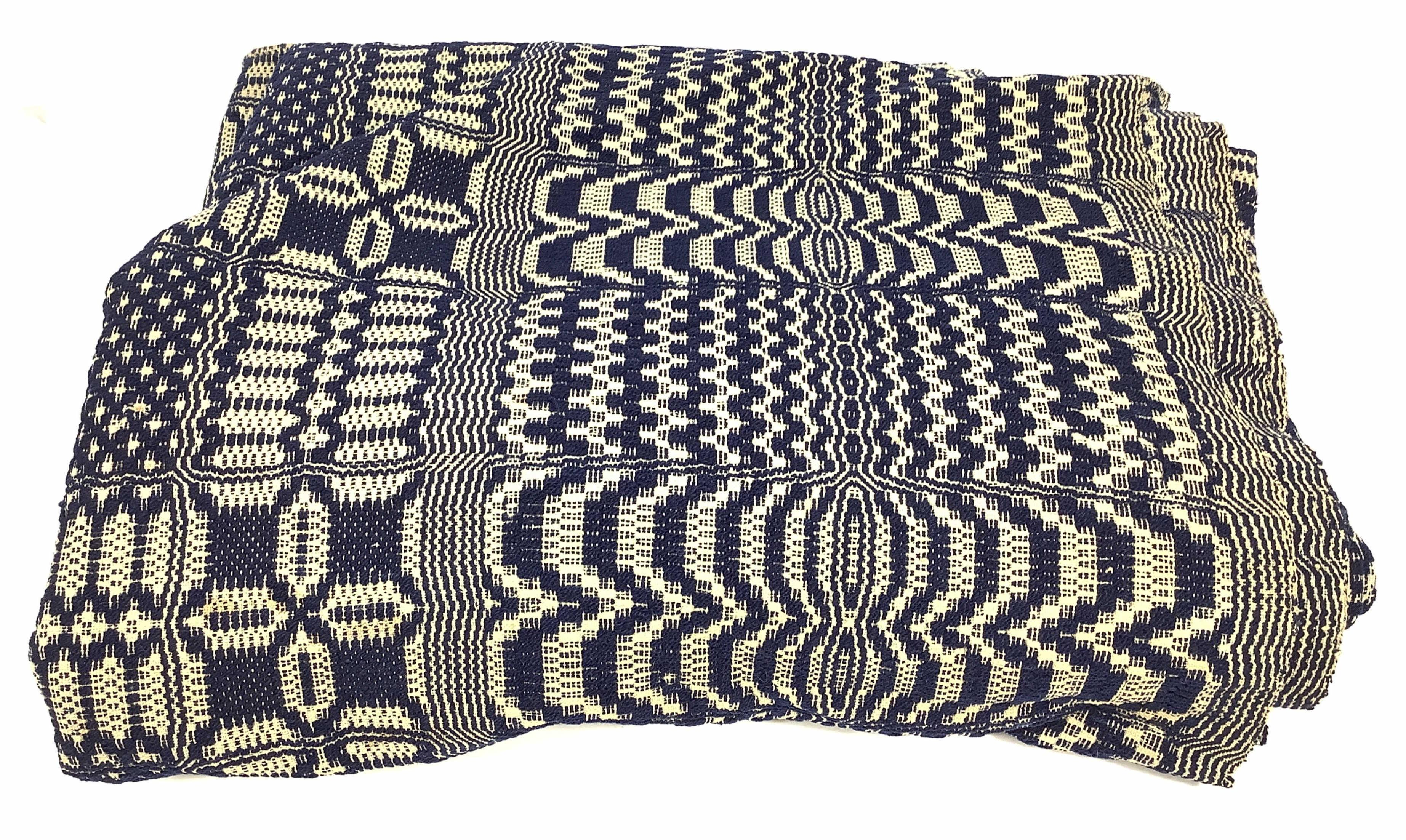 c.1830, Linen & Wool Overshot Coverlet