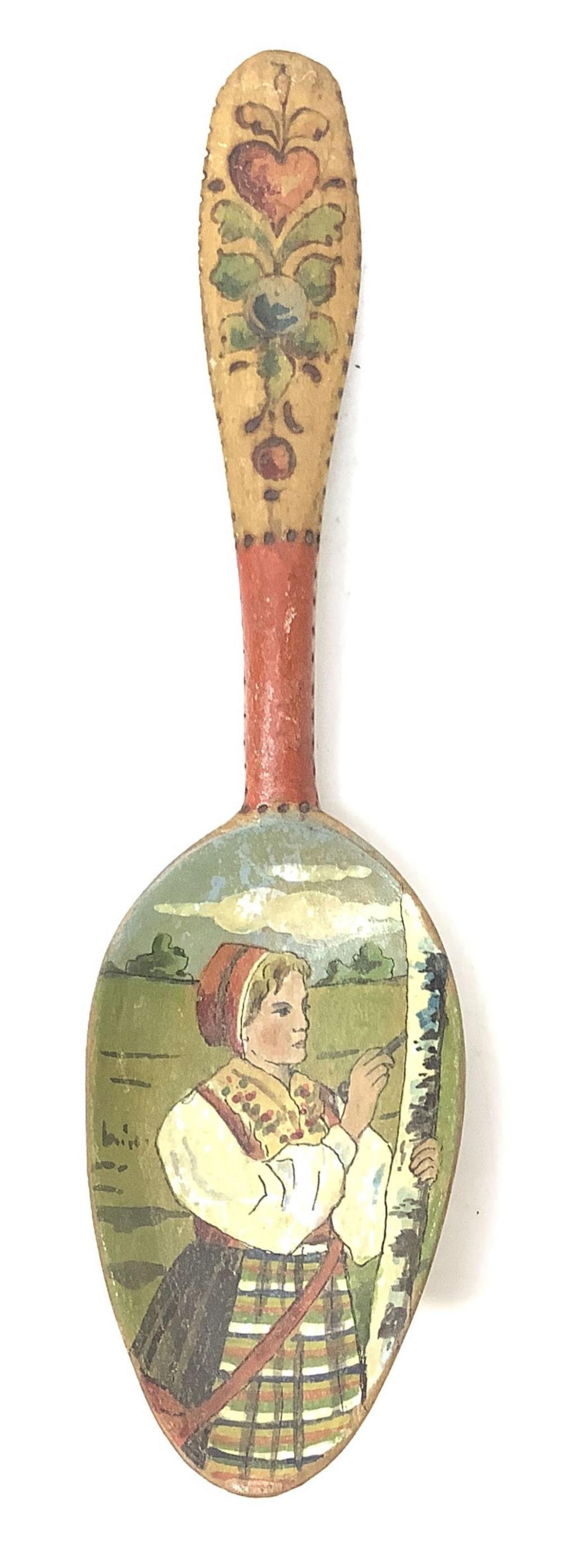 Antique Dough Bowl & Hand Painted Scandinavian