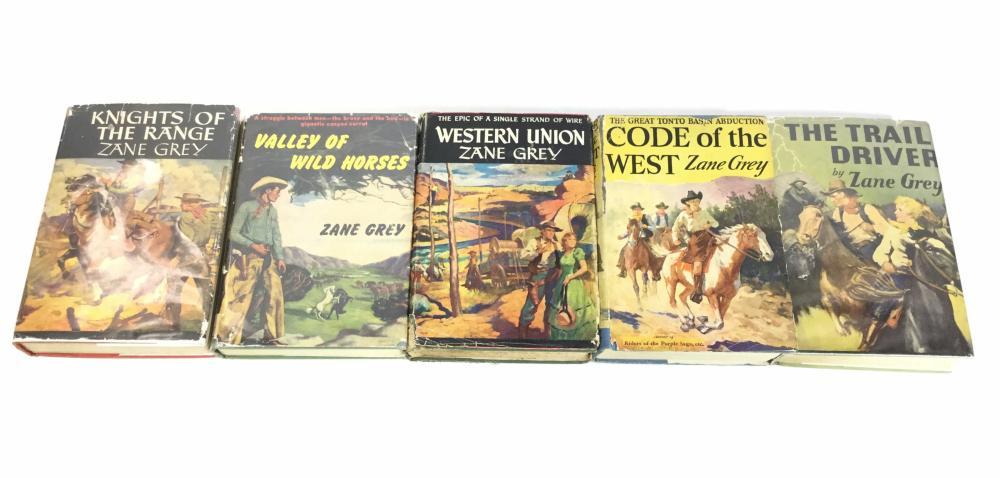 (5) Vintage Zane Grey Grosset & Dunlap 1st Edition Books