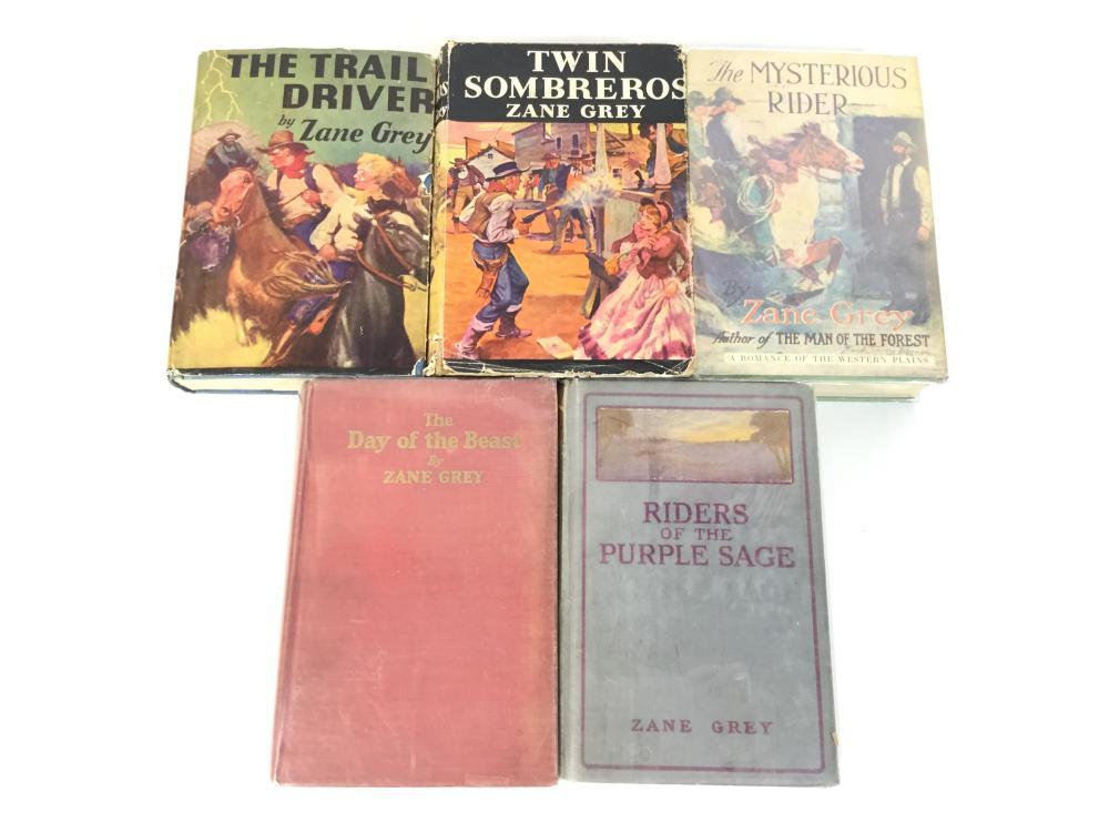 (5) Vintage Zane Grey 1st Edition Books