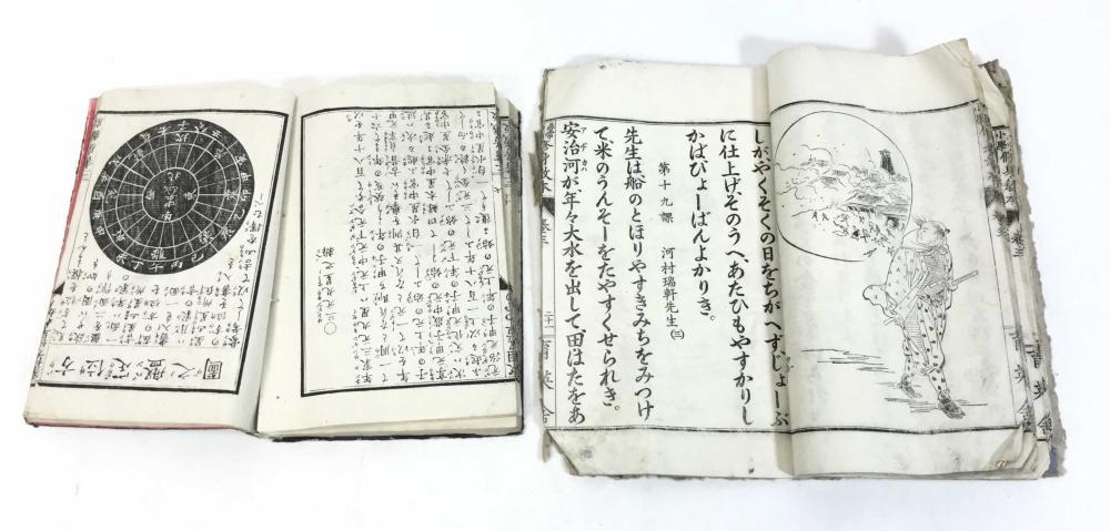 (2) 19th C. Woodblock Print Books, Fortune Telling