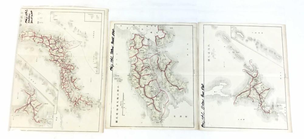 (5) Japanese Meiji Period Woodblock Print Maps