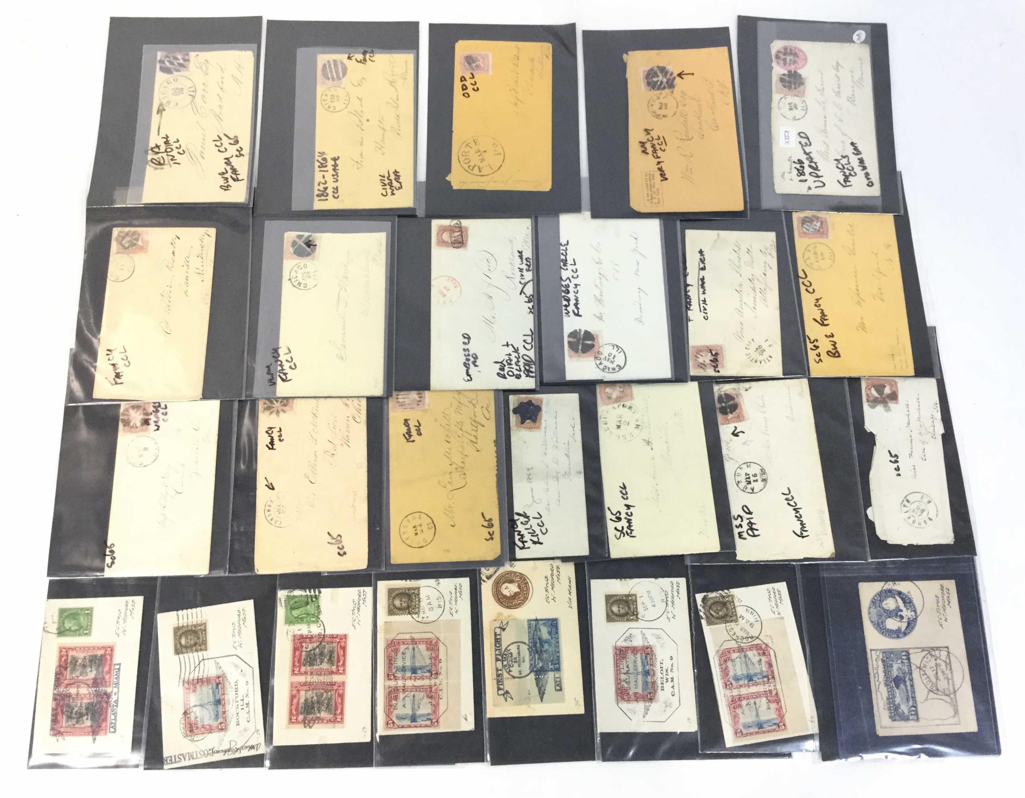 (26) 19th C. Postal & Tiny First Flight Covers