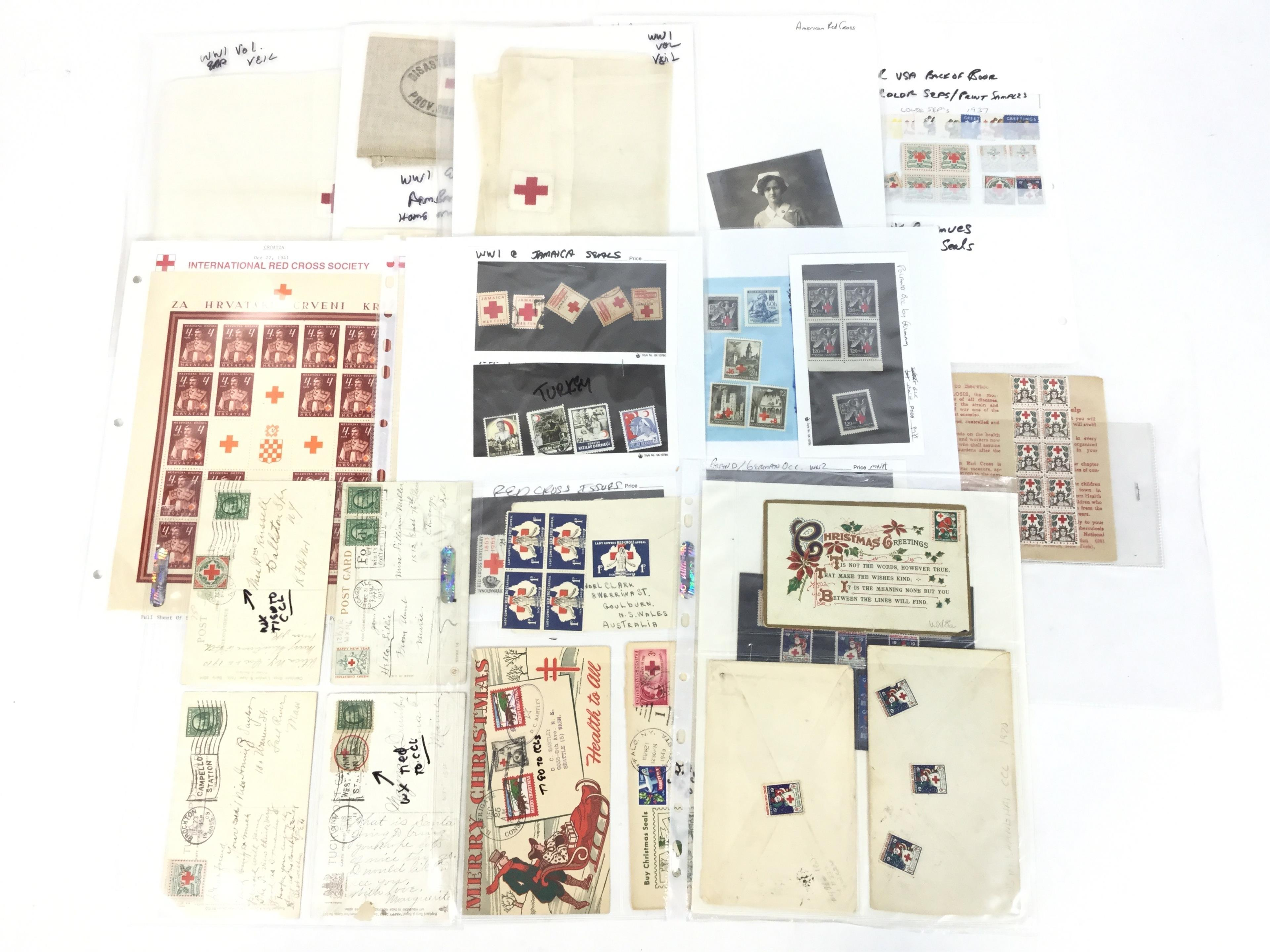 Vintage Red Cross Veils, Ephemera , Stamps