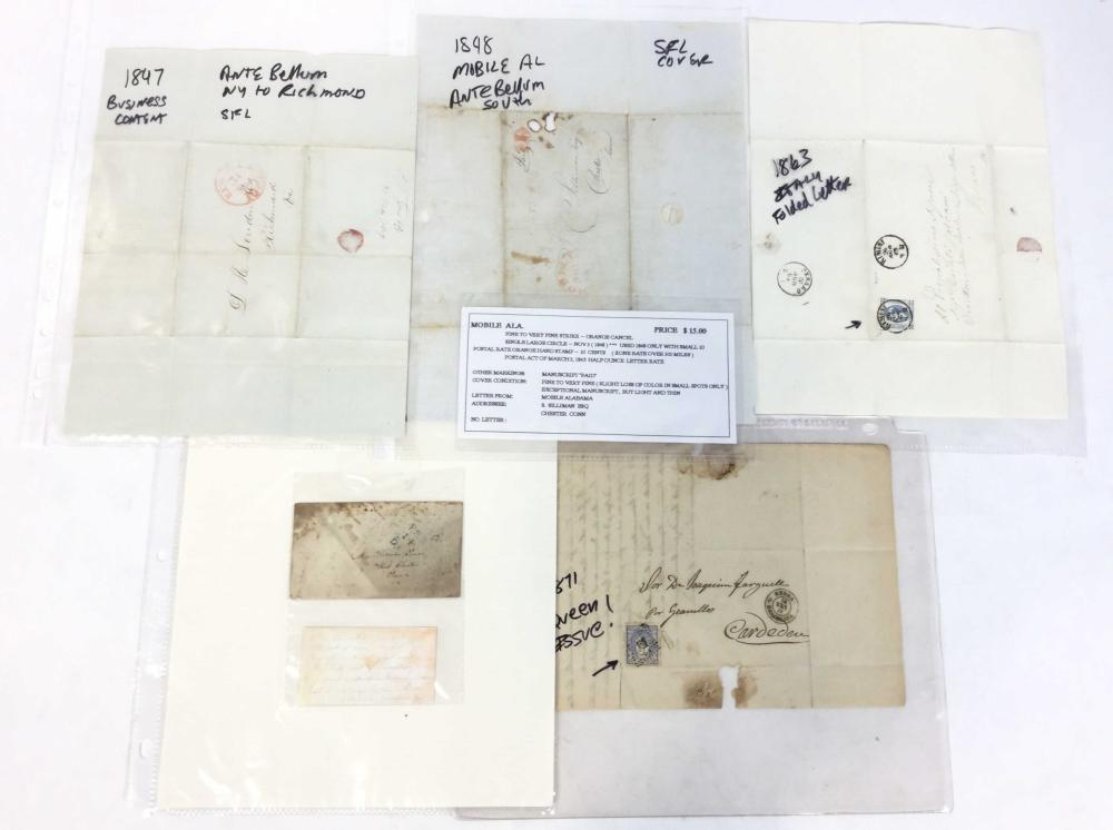 (9) 19th C. Stampless Letters, U.S. - Italy