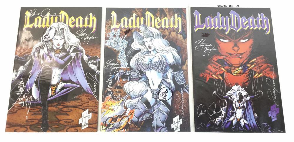 (7) Multi Signed Lady Death Comics, Hughes, Jensen