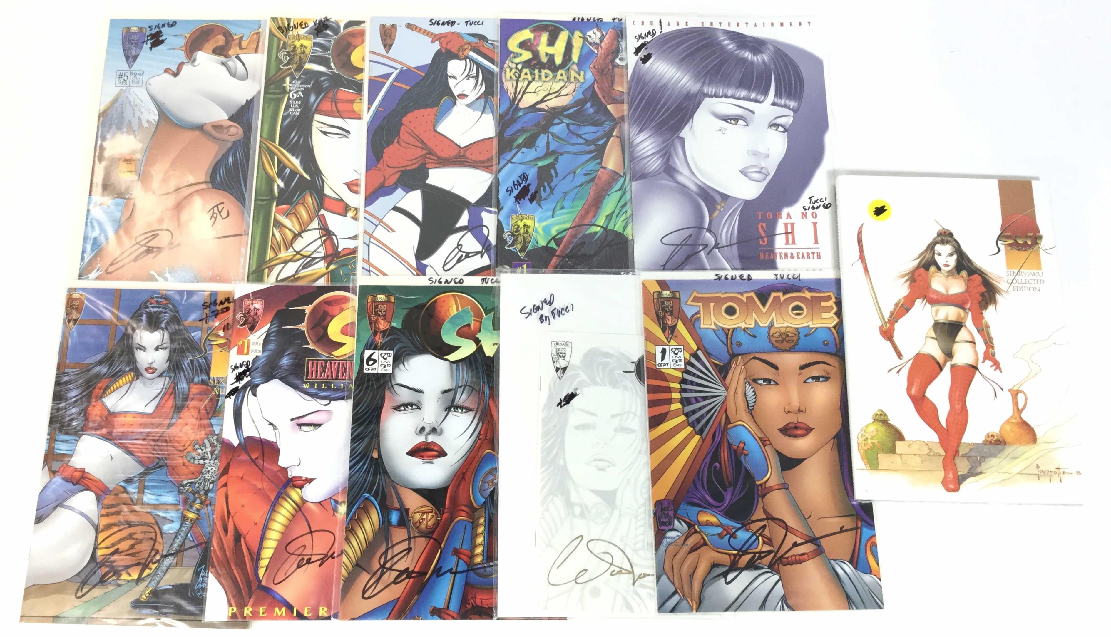 (11) Autographed Crusader Shi & Tomeo Comics