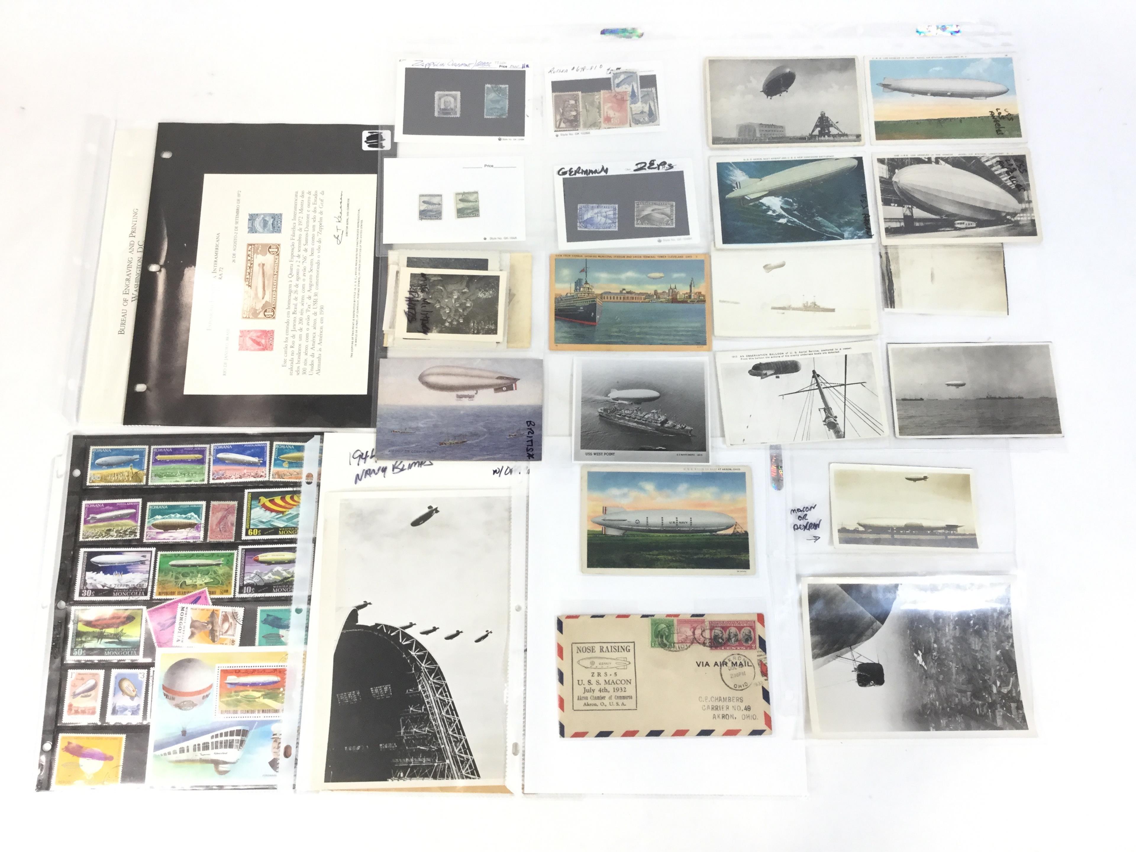 Vintage U.S. Zeppelin, Blimp Postcards & Stamps