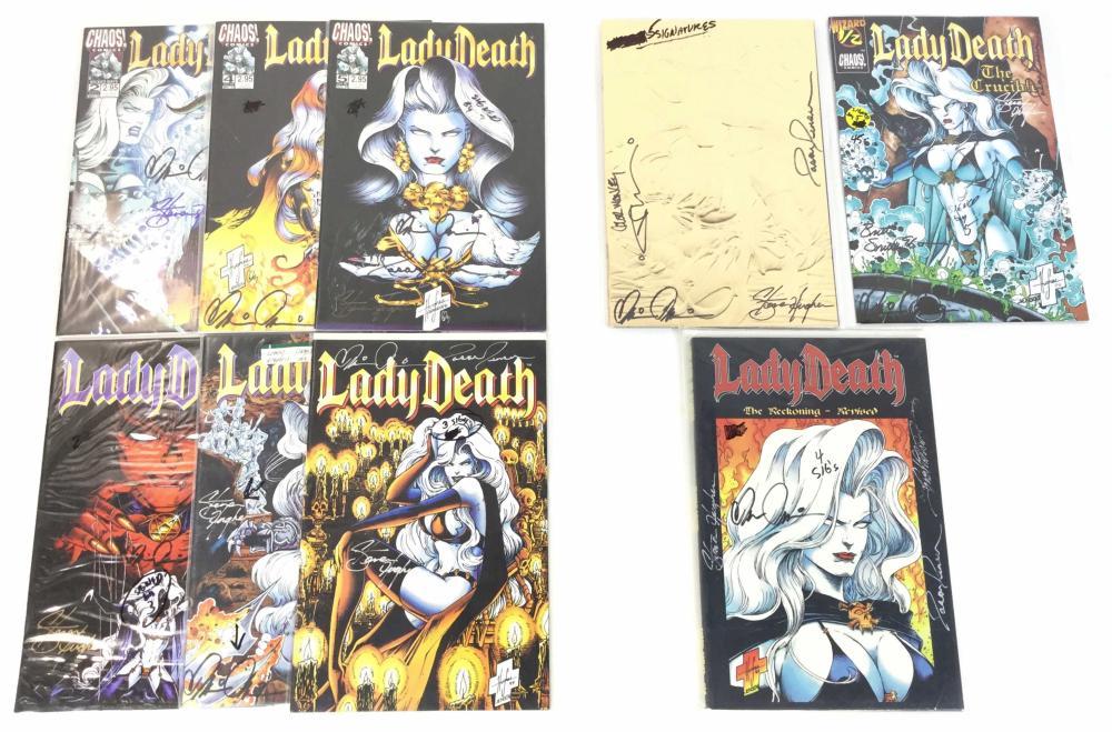 (9) Autographed Lady Death Comics