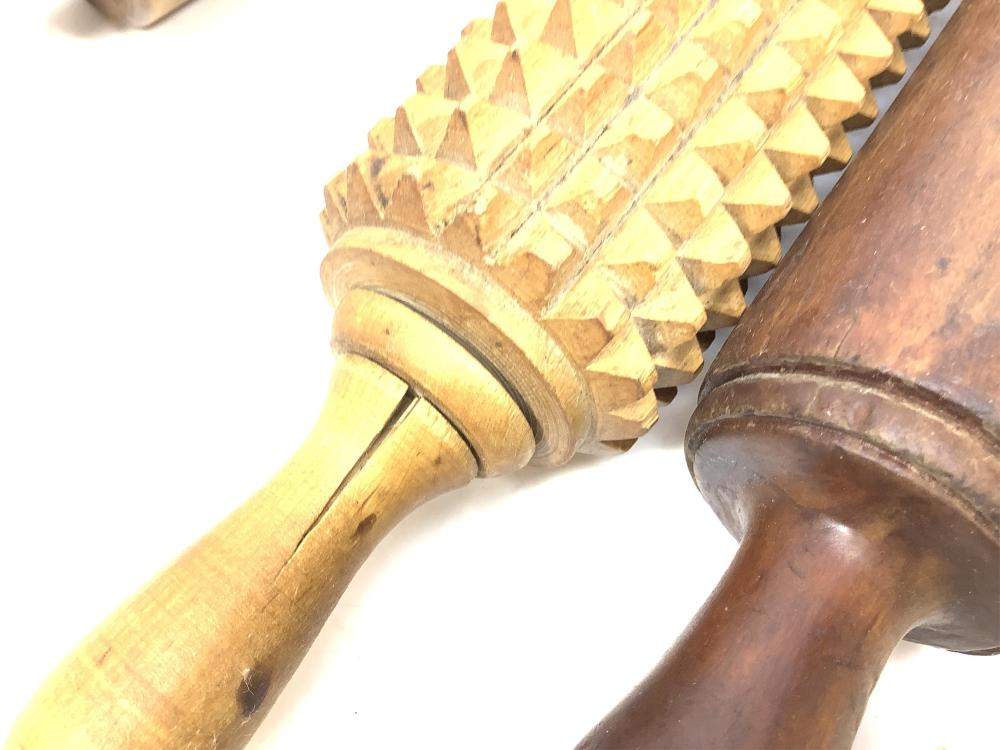 (3) Antique Rolling Pins, Figured Maple, Chip