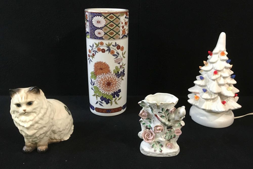 (4pc) Porcelain Hand Painted Vase, Misc. Decor