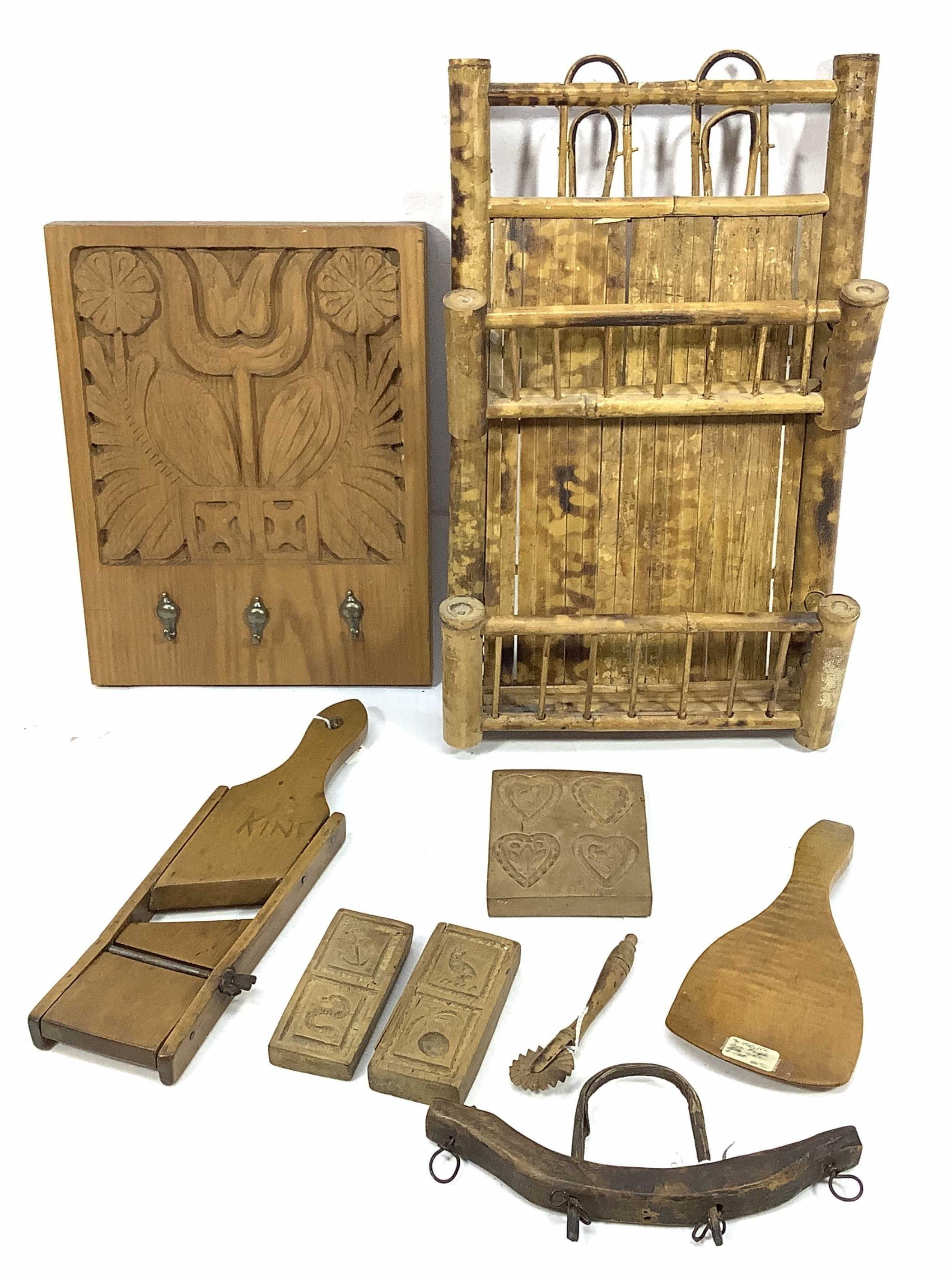 Antique Butter Molds, Primitive Bamboo Mail Rack