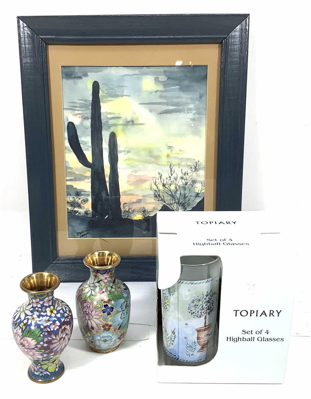 Signed Watercolor Saguaro, Cloisonné, Topiary