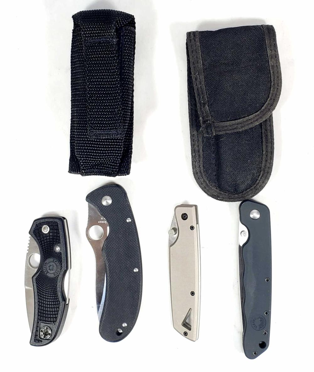 (4) Pocket Knives, Spyderco, Buck 175, Koncept