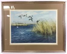Maynard Reece Signed Lithograph Ducks Flying