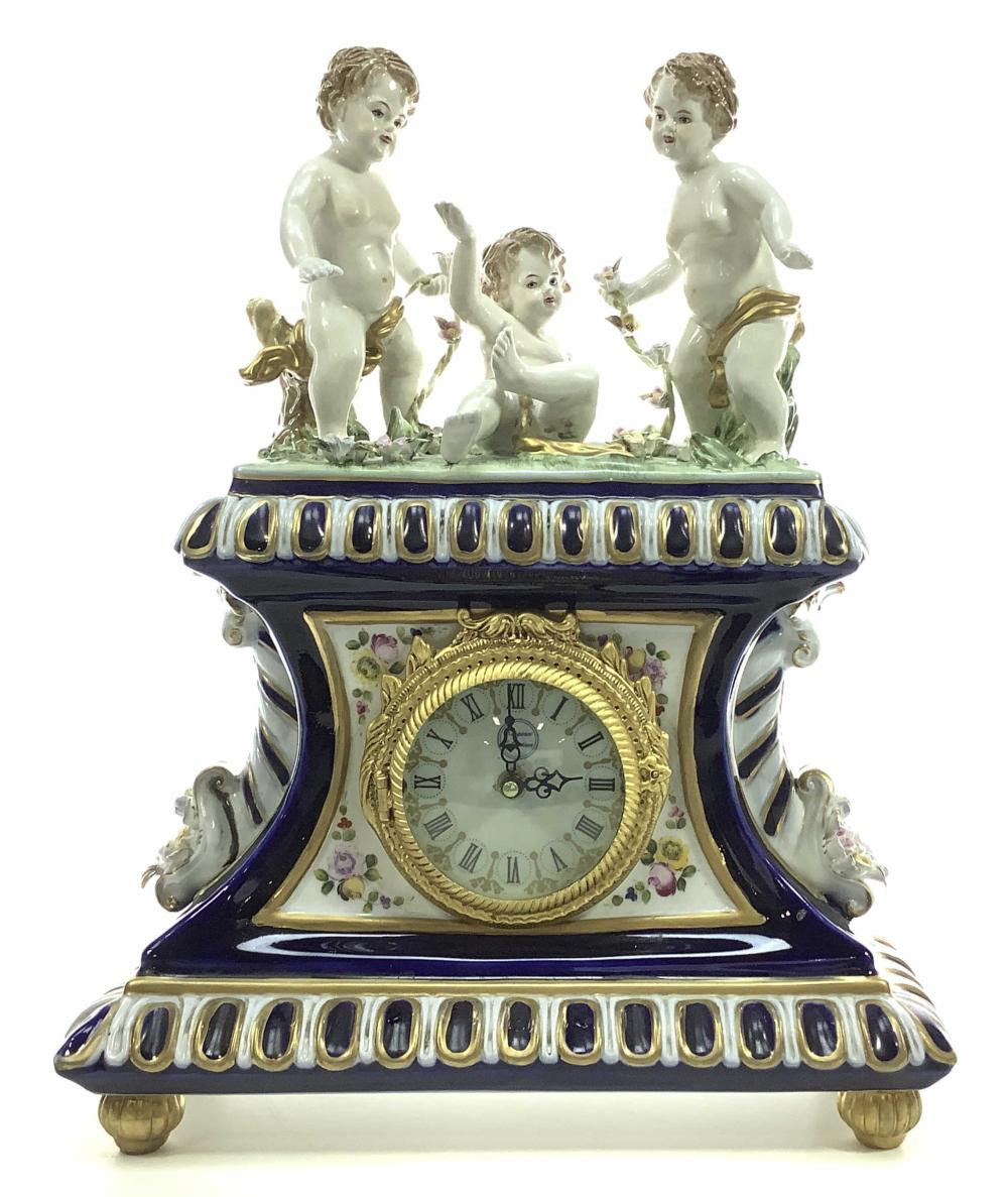 Vintage German Porcelain Putti Mantle Clock