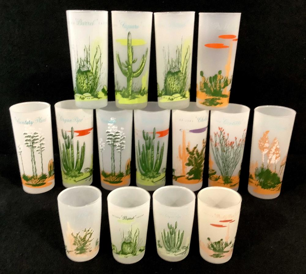 (15) Blakely Oil & Gas Arizona Cactus Frosted Glasses