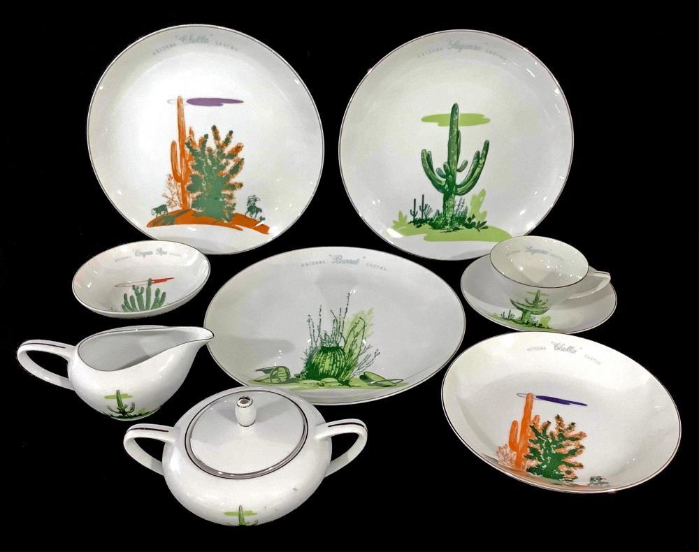 (40pc) Blakely Oil & Gas Arizona Cactus Dinnerware