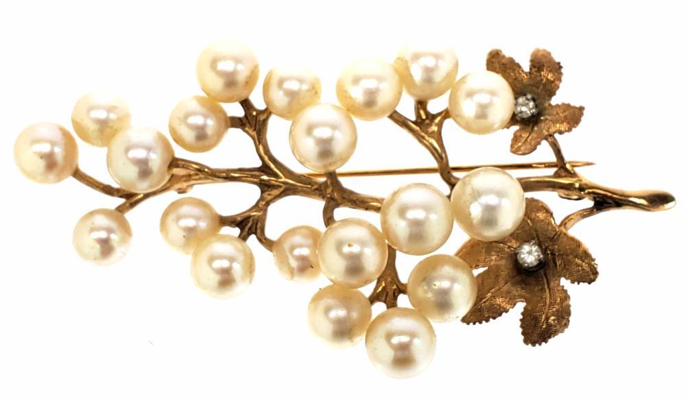 14K Gold, Diamond & Pearl Brooch