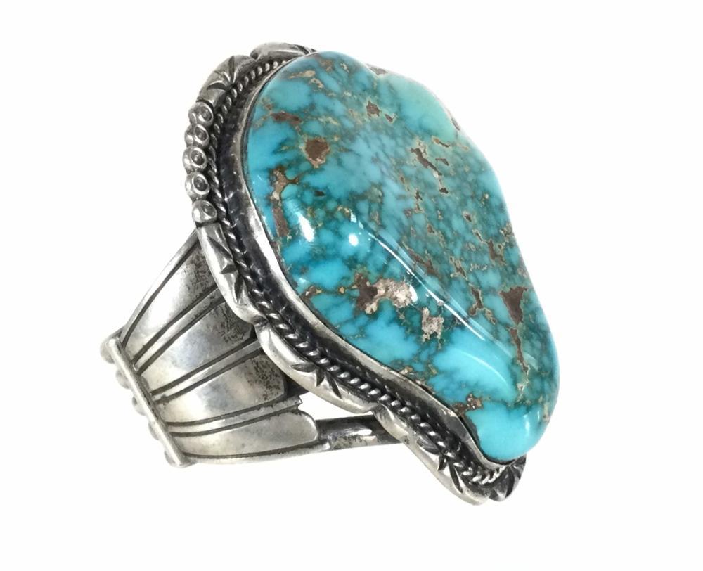 Vintage Sterling Silver & Turquoise Cuff Bracelet