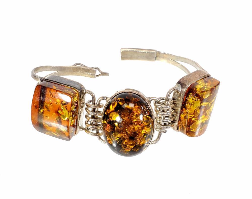(3pc) Sterling Silver & Amber Ring, Bracelet & Earrings