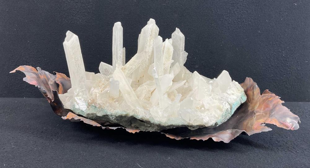 (2pc) Quartz Crystal Cluster On Copper Sculpture