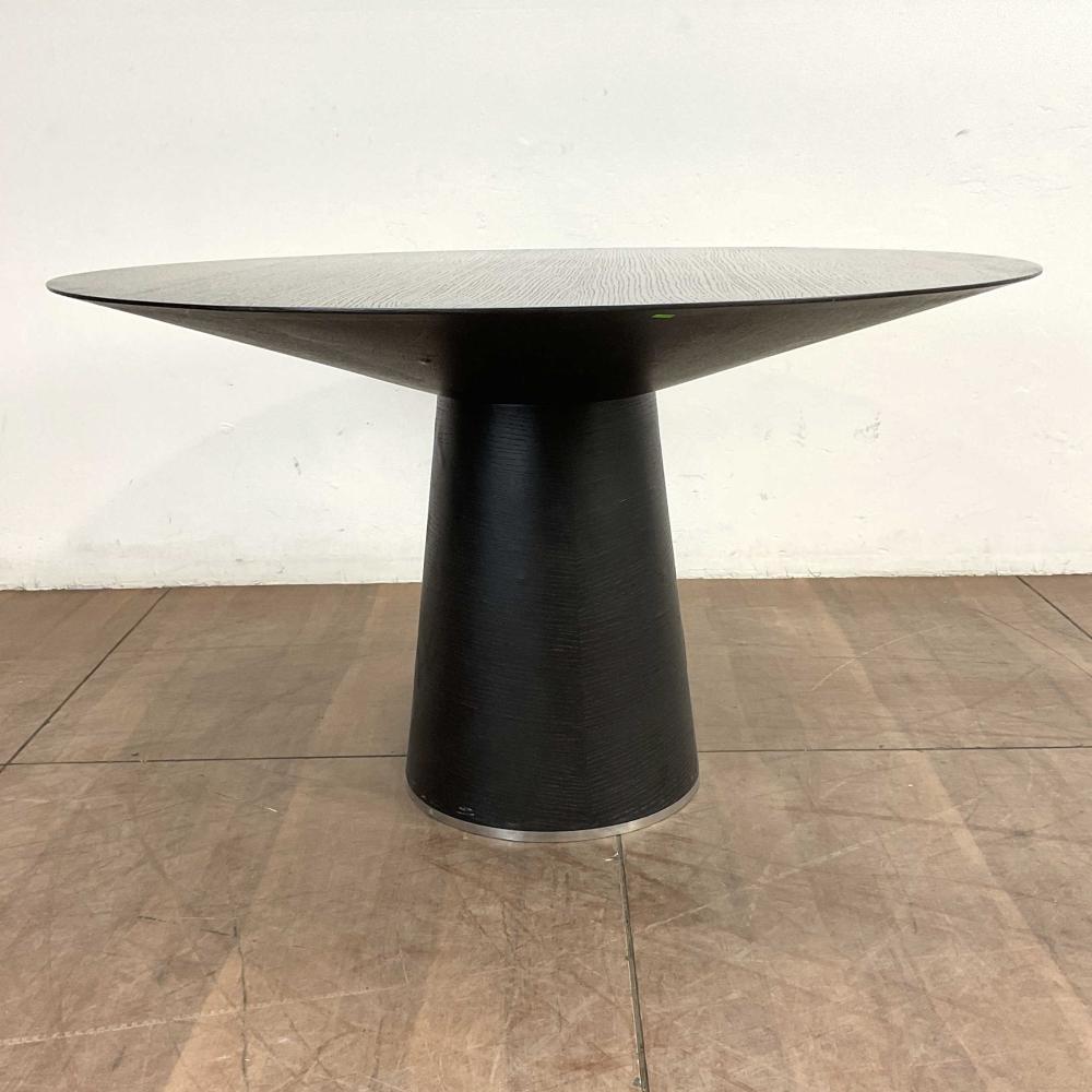 Round Pedestal Ebonized Oak Dining Table