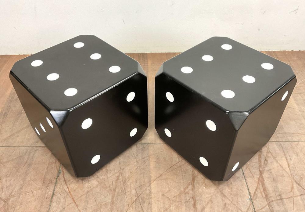 Pair Fiberglass Dice Bunching Cube Cocktail Tables