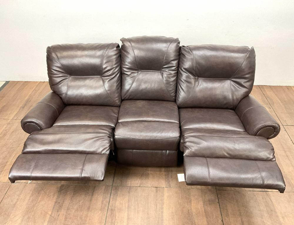 English Rolled Arm Style Reclining Leather Sofa