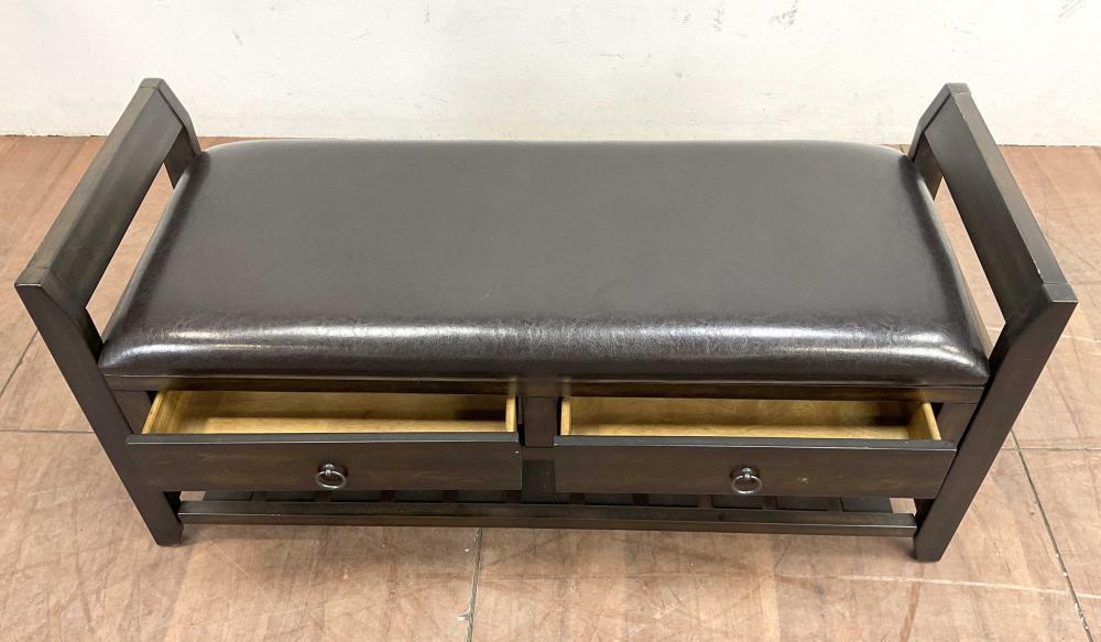 Traditional 2 Drawer Vinyl Storage Bench
