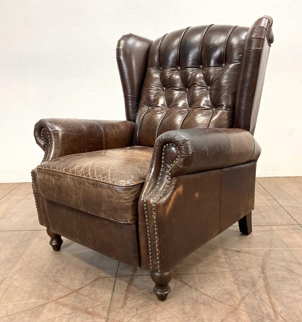 Rustic Leather Diamond Tufted Wingback Recliner