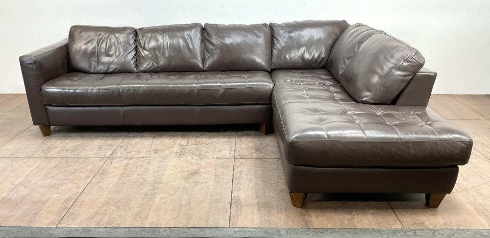 (2pc) Natuzzi Leather Sectional Sofa